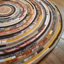 Load image into Gallery viewer, R2S 36 Round Rug Thanksgiving Harvest Colors Floor Mat Handmade Multicolor Upcycled