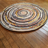 R2S 36 Round Rug Thanksgiving Harvest Colors Floor Mat Handmade Multicolor Upcycled
