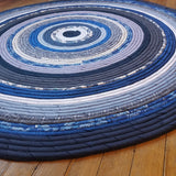 R2S 48 Round Area Rug In Blues Banded Floor Mat Handmade Upcycled One Of A Kind