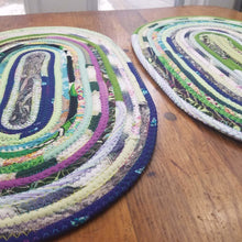 Load image into Gallery viewer, R2S Handmade Bohemian Set Of 2 Oval Table Mats 18; Multicolor Boho Colors Ready To Ship