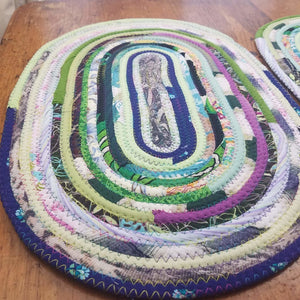 R2S Handmade Bohemian Set Of 2 Oval Table Mats 18; Multicolor Boho Colors Ready To Ship