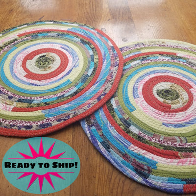 "R2S Handmade Bohemian Set of 2 Round Table Mats 14"" Multicolor Boho Colors Ready to Ship"