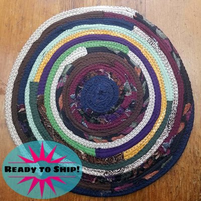 "R2S Handmade Bohemian Table Mat 13"" Round Dark Multicolors Ready to Ship"