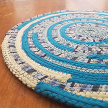 Load image into Gallery viewer, R2S Handmade Bohemian Table Mat 13 Round Turquoise Colors Ready To Ship