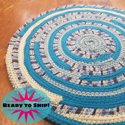 R2S Handmade Bohemian Table Mat 13 Round Turquoise Colors Ready To Ship