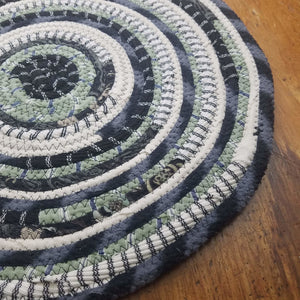 R2S Handmade Bohemian Table Mat 14 Round Black & Green Colors Ready To Ship