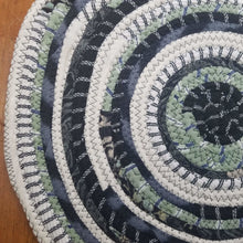 Load image into Gallery viewer, R2S Handmade Bohemian Table Mat 14 Round Black & Green Colors Ready To Ship