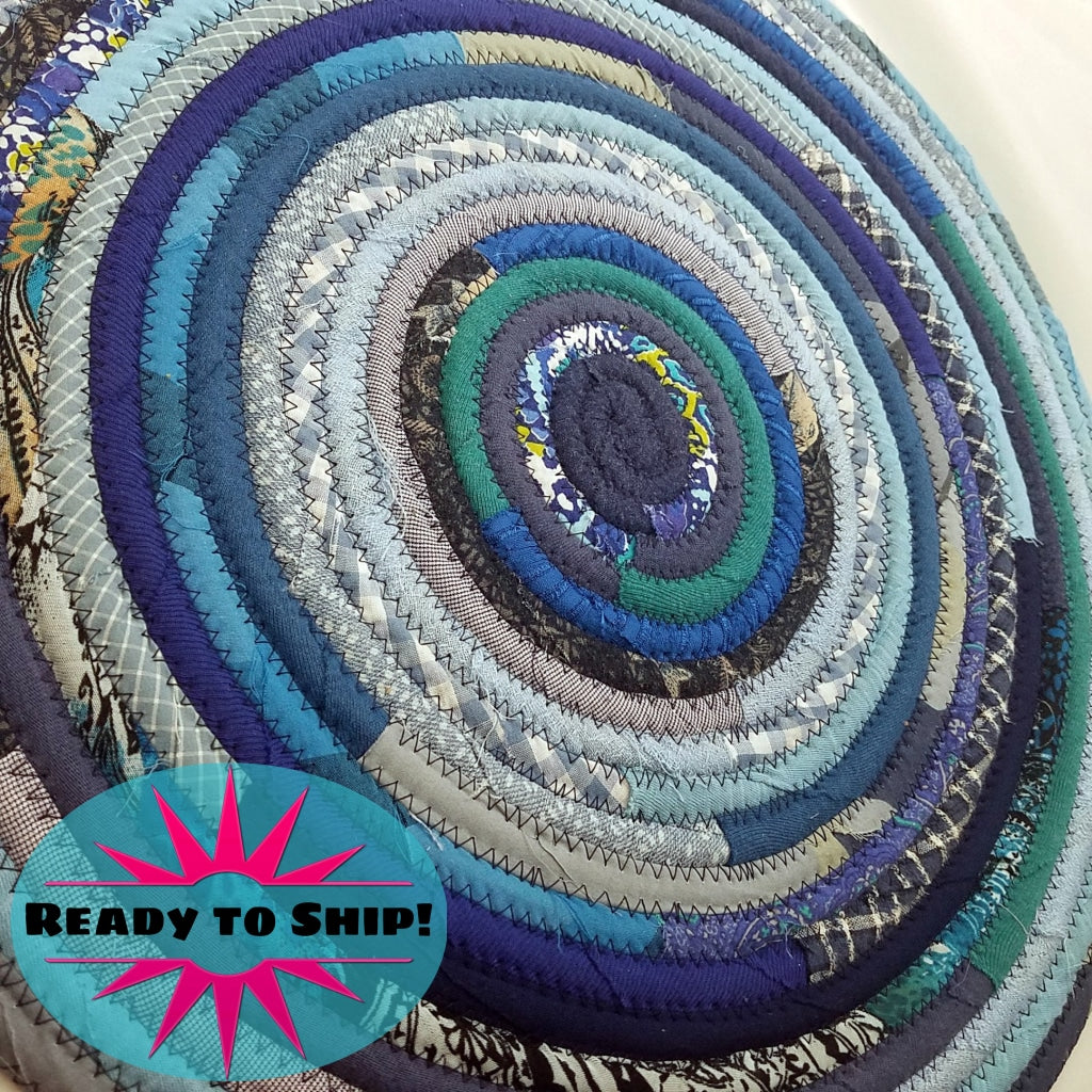 R2S Handmade Bohemian Table Mat 18 Round Shades Of Blue Ready To Ship