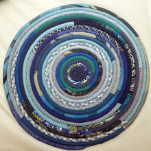 Load image into Gallery viewer, R2S Handmade Bohemian Table Mat 18 Round Shades Of Blue Ready To Ship