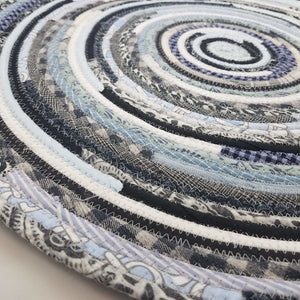 R2S Handmade Bohemian Table Mat 20 Round Shades Of Blue Black Ready To Ship