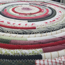Load image into Gallery viewer, R2S Handmade Bohemian Table Mat 24 Round Reds And Greens Ready To Ship