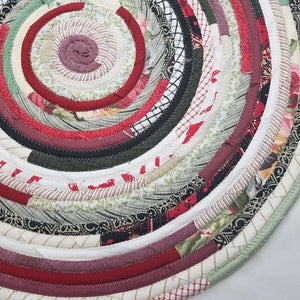 R2S Handmade Bohemian Table Mat 24 Round Reds And Greens Ready To Ship