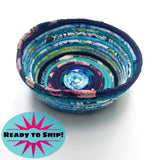 R2S Handmade Fabric Basket Bowl Multicolor Turquoise And Purple Patterns