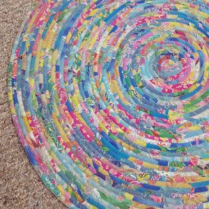 R2S Handmade Floor Mat 3-Foot Area Rug Fabric Pastel Colors Upcycled Vintage Quilt Ready To Ship Rug