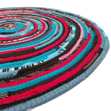 Load image into Gallery viewer, R2S Handmade Round Floot Mat Turquoise Red Black Upcycled