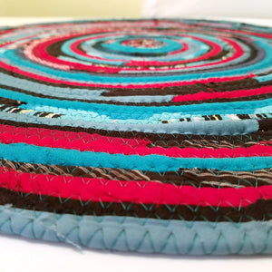 R2S Handmade Round Floot Mat Turquoise Red Black Upcycled