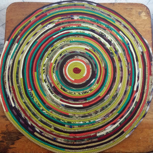 R2S Handmade Table Mat Fabric Accent Rug 28 Diameter Earth Tone Multicolors Ready To Ship Rug
