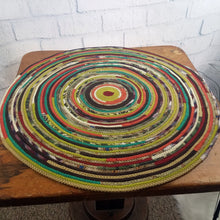 Load image into Gallery viewer, R2S Handmade Table Mat Fabric Accent Rug 28 Diameter Earth Tone Multicolors Ready To Ship Rug