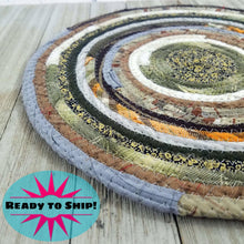Load image into Gallery viewer, R2S Handmade Table Mat Fabric Placemat 12 Diameter Brown Gray Earthy Colors Ready To Ship Mat
