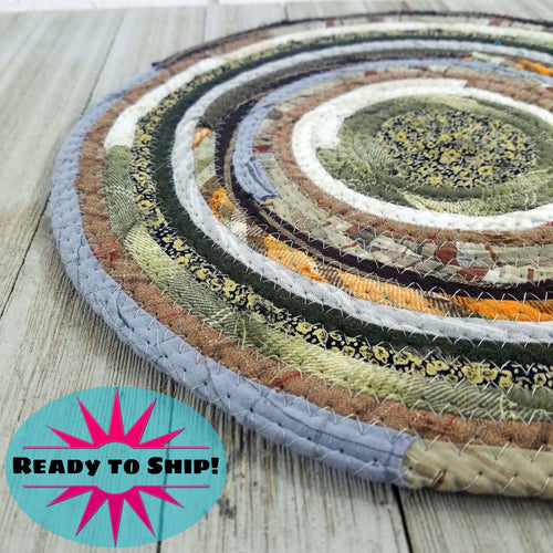 R2S Handmade Table Mat Fabric Placemat 12 Diameter Brown Gray Earthy Colors Ready To Ship Mat