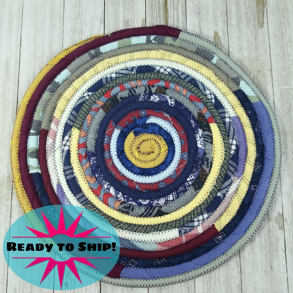 R2S Handmade Table Mat Fabric Placemat 12 Diameter Dark Bohemian Colors Ready To Ship