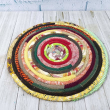 Load image into Gallery viewer, R2S Handmade Table Mat Fabric Placemat 12 Diameter Earthy Vintage Kitchen Colors Ready To Ship