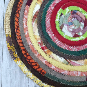 R2S Handmade Table Mat Fabric Placemat 12 Diameter Earthy Vintage Kitchen Colors Ready To Ship