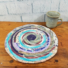 Load image into Gallery viewer, R2S Handmade Table Mat Fabric Placemat 12 Diameter Multicolor Greens Ready To Ship