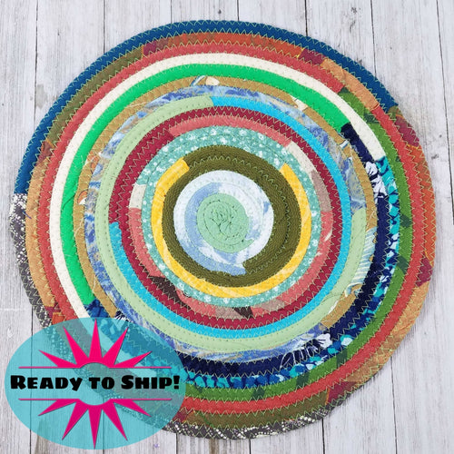 R2S Handmade Table Mat Fabric Placemat 12 Diameter Multicolor Greens Ready To Ship