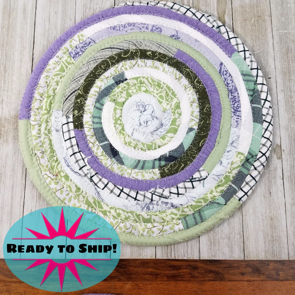 R2S Handmade Table Mat Fabric Placemat 12 Diameter Pastel Purples And Greens Ready To Ship