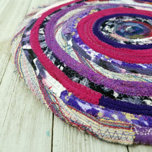 Load image into Gallery viewer, R2S Handmade Table Mat Fabric Placemat 12 Diameter Purple Multicolors Ready To Ship