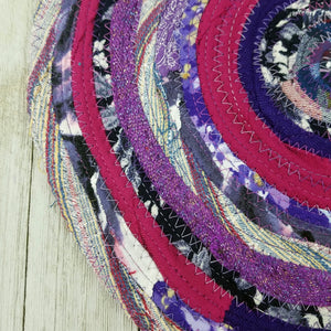 R2S Handmade Table Mat Fabric Placemat 12 Diameter Purple Multicolors Ready To Ship