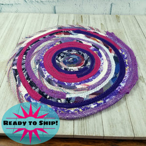 R2S Handmade Table Mat Fabric Placemat 12 Diameter Purple Multicolors Ready To Ship Mat