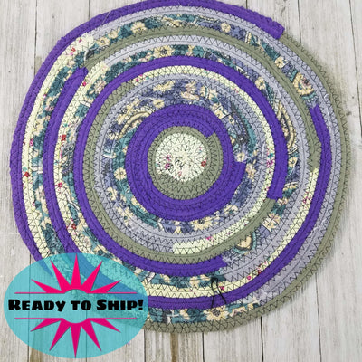 "R2S Handmade Table Mat Fabric Placemat 12"" Diameter Purples and Greens Ready to Ship"