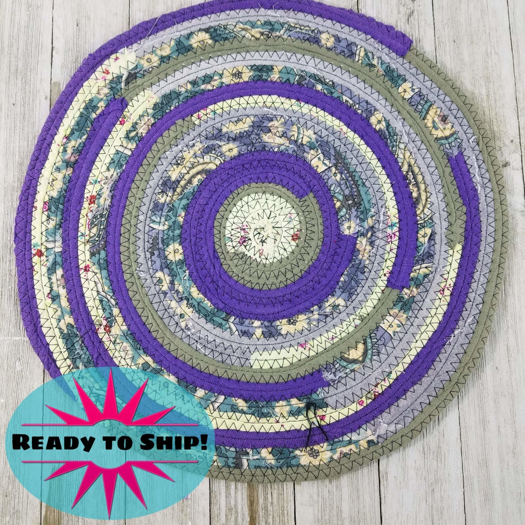 R2S Handmade Table Mat Fabric Placemat 12 Diameter Purples And Greens Ready To Ship