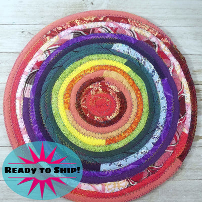 "R2S Handmade Table Mat Fabric Placemat 12"" Diameter Rainbow Colors Ready to Ship"