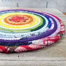Load image into Gallery viewer, R2S Handmade Table Mat Fabric Placemat 12 Diameter Rainbow Colors Ready To Ship