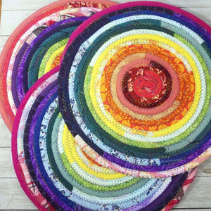 R2S Handmade Table Mat Fabric Placemat 12 Diameter Rainbow Colors Ready To Ship