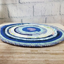 Load image into Gallery viewer, R2S Handmade Table Mat Fabric Placemat 12 Diameter Shades Of Blue Ready To Ship