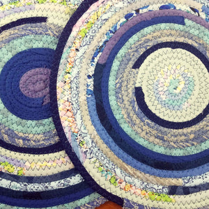 R2S Handmade Table Mat Fabric Placemat 12 Diameter Shades Of Blue Ready To Ship