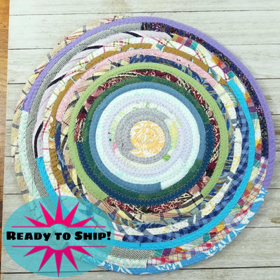 "R2S Handmade Table Mat Fabric Placemat 13.5"" Diameter Multicolors Ready to Ship"