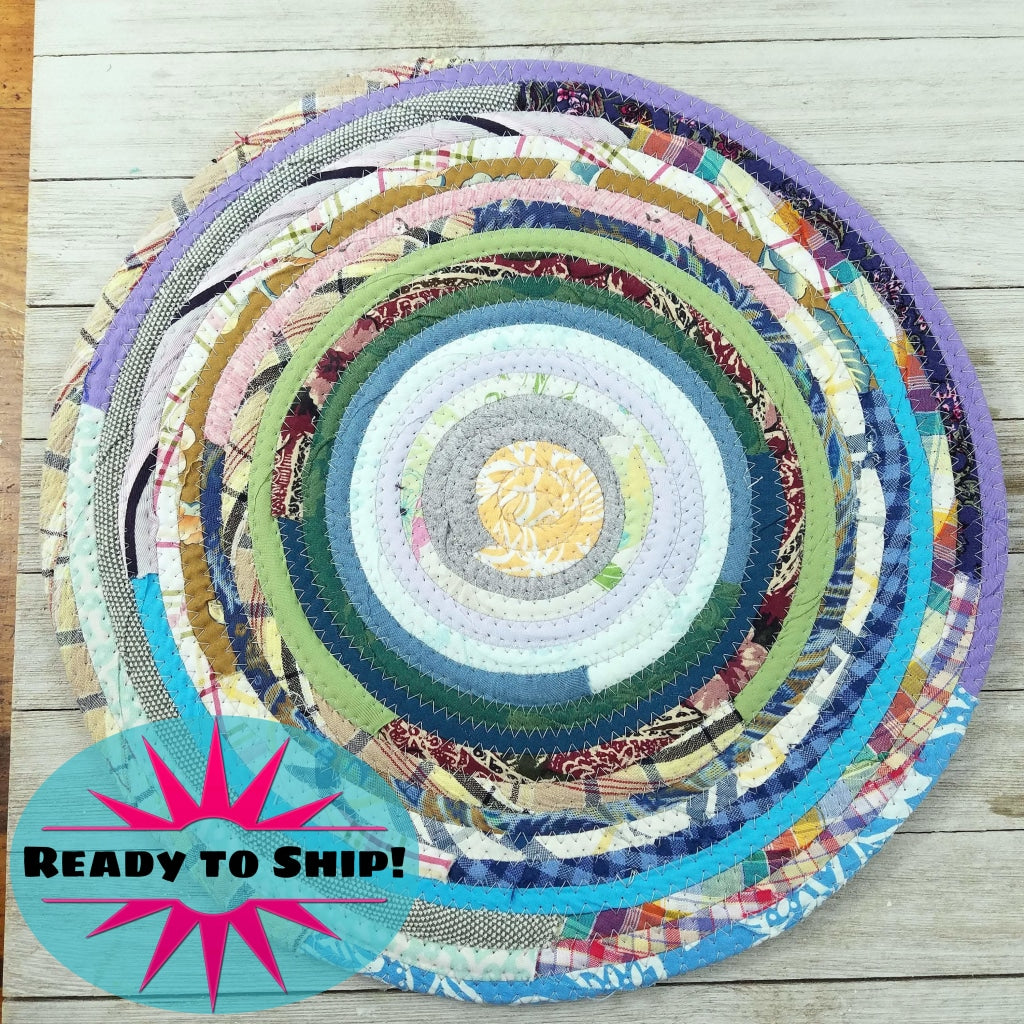 R2S Handmade Table Mat Fabric Placemat 13.5 Diameter Multicolors Ready To Ship