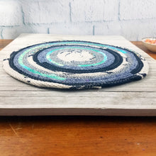 Load image into Gallery viewer, R2S Handmade Table Mat Fabric Placemat 13 Diameter Denim Blues And Teal Ready To Ship