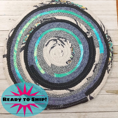 R2S Handmade Table Mat Fabric Placemat 13 Diameter Denim Blues And Teal Ready To Ship