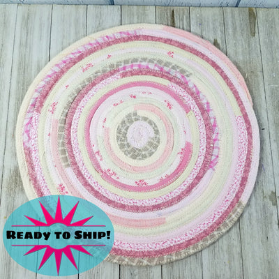 "R2S Handmade Table Mat Fabric Placemat 13"" Diameter Pink and White Multicolors Ready to Ship"