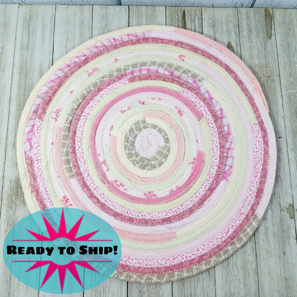 R2S Handmade Table Mat Fabric Placemat 13 Diameter Pink And White Multicolors Ready To Ship