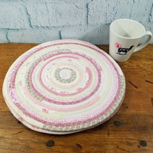 Load image into Gallery viewer, R2S Handmade Table Mat Fabric Placemat 13 Diameter Pink And White Multicolors Ready To Ship