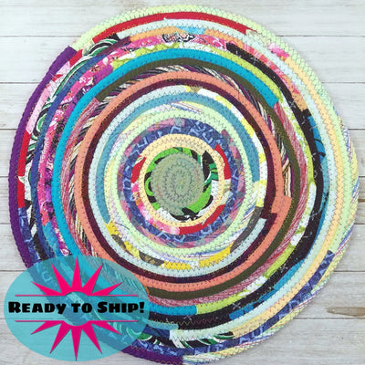 "R2S Handmade Table Mat Fabric Placemat 14.5"" Diameter Multicolor Brights Ready to Ship"