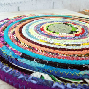 R2S Handmade Table Mat Fabric Placemat 14.5 Diameter Multicolor Brights Ready To Ship