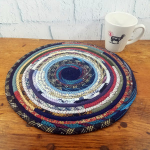 R2S Handmade Table Mat Fabric Placemat 14 Diameter Blue Bohemian Multicolors Ready To Ship Mat